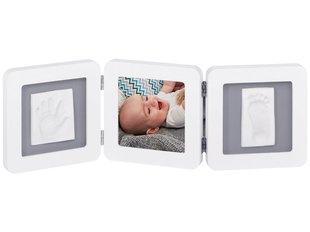Baby Art Modern Trendy Double Print Frame набор для изготовления отмечатка ножки/ручки малыша, белый/серый цена и информация | Слепки ручек и ножек для младенцев | kaup24.ee