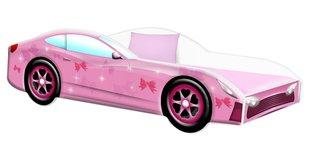 Voodi madratsiga Car BED-PINK-2, 160x80 cm, roosa hind ja info | Lastetoamööbel | kaup24.ee