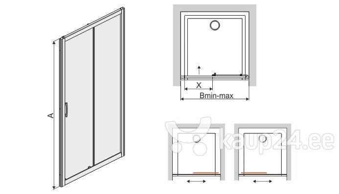 Душевая дверь в нишу Sanplast TX D2/TX5b 100s, профиль- пергамон, декорированное стекло W0