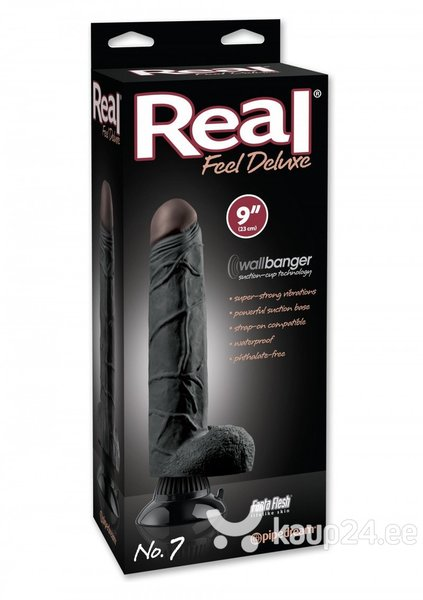Vibraator Real Feel - Deluxe #7 27,5 cm, must