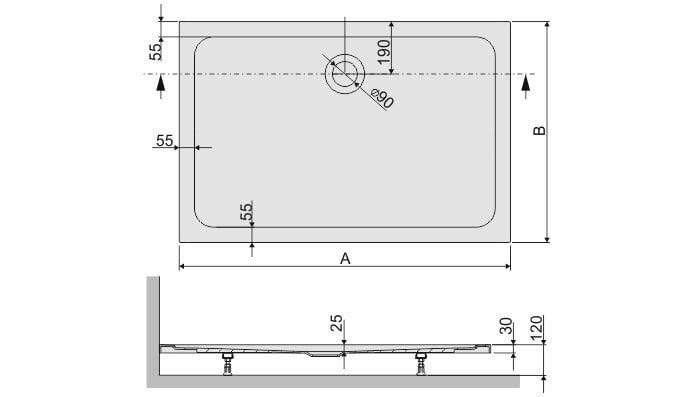 Dušialus Sanplast Free Line B/Free 80x110x2,5