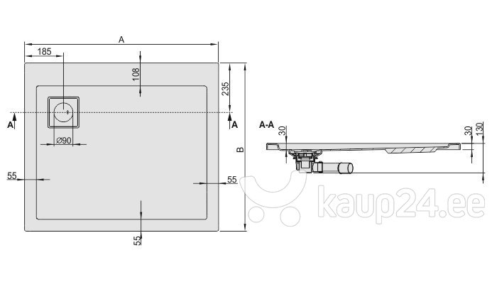 Dušialus Sanplast Space Line B/Space 80x100x3, matt hõbedane