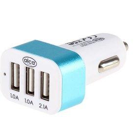 USB laadija Alca, 3xUSB, 12/24V, 2.1A, valge/sinine