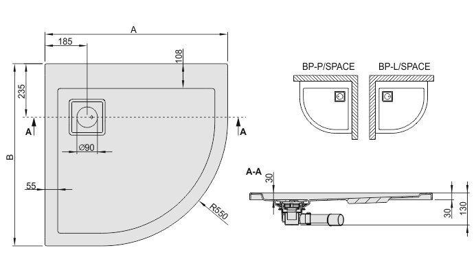 Dušialus Sanplast Space Line BP-P/Space 80x90x3, värv valge