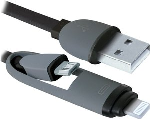 Kaabel USB - Lightning / microUSB Defender 87488, 1m, must