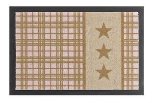 Uksematt Hanse Home Printy Star Plaid 40x60 cm, helepruun