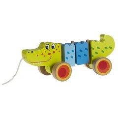 Puidust krokodill Smiki rataste ja nööriga