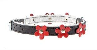 Nahast koerte kaelarihm Amibelle must punaste lilledega, S