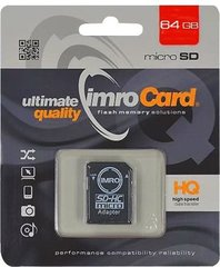 Micro SDHC kaart Imro 64 GB, klass 10 UHS-1 + adapter