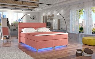 Voodi Amadeo LED valgustusega, 140x200 cm, gobelään/roosa