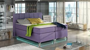 Voodi Basilio LED-valgustusega, 180x200 cm, gobelään, violetne
