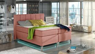 Voodi Basilio LED valgustusega, 160x200 cm, gobelään, roosa