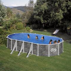Ovaalse karkassiga bassein Gre Córcega koos liivafiltriga, 730x375x132 cm