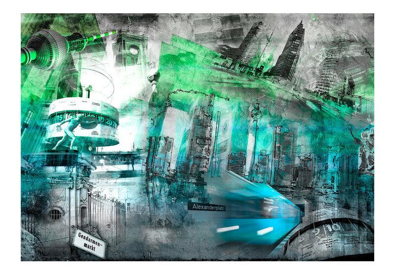 Fototapeet - Berlin - collage (green)
