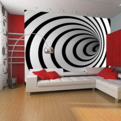 Fototapeet - Black and white 3D tunnel