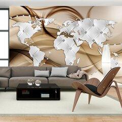 Fototapeet - World Map - White & Diamonds