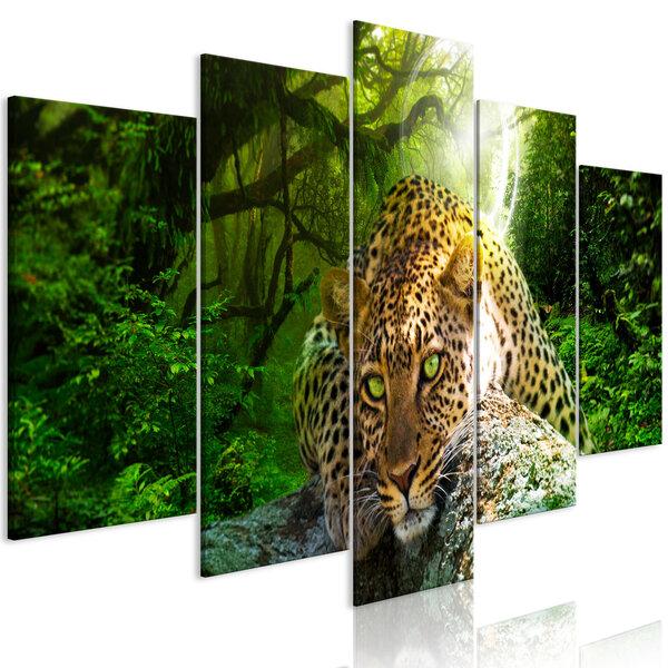 Maal - Leopard Lying (5 Parts) Wide Green