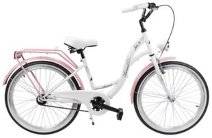 """Laste jalgratas Azimut Julie 24"""" 2019, valge/roosa"""