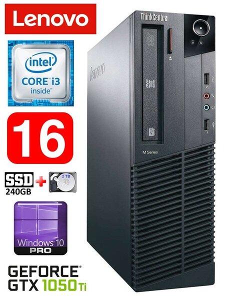 Lauaarvuti Lenovo ThinkCentre M82 SFF i3-3220 16GB 240SSD+2TB GTX1050Ti 4GB DVD WIN10Pro