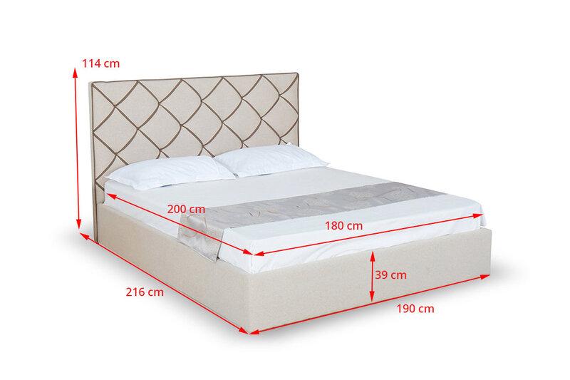 Кровать с ящиком для постельного белья NORE Jazz, 180x200 см, цвет песка