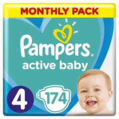Mähkmed PAMPERS Active Baby-Dry, Monthly Box, suurus 4, 9-14kg, 174 tk