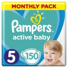 Mähkmed PAMPERS Active Baby-Dry, Monthly Box, suurus 5, 11-16kg, 150 tk