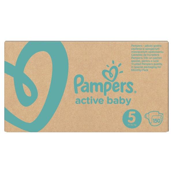 Подгузники PAMPERS Active Baby-Dry, Monthly Box, 5 размер, 11-16кг, 150 шт.