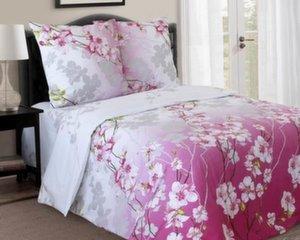 Voodipesukomplekt, roosad lilled roosal/valgel taustal, Double 3 osaline (180x215cm)