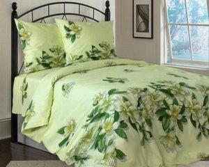 Voodipesukomplekt, rohelised lilled rohelisel taustal, Double 3 osaline (180x215cm)