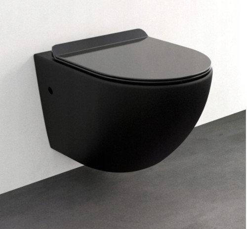 WC-pott Mexen Lena Rimless Slim Black aeglaselt sulguva kaanega hind