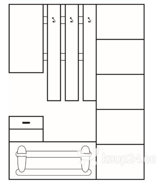 Комплект мебели для прихожей I, коричневый/кремовый