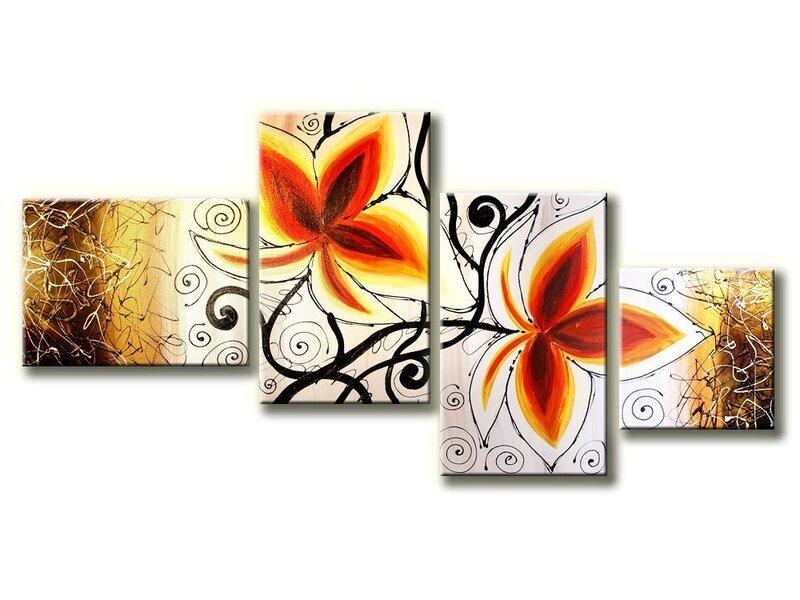 Neljaosaline maal, lilled, valge oranž, S suurus