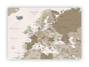 Korgist pilt - Maailma kaart Pruunikas [korgist kaart], 70x50 cm.