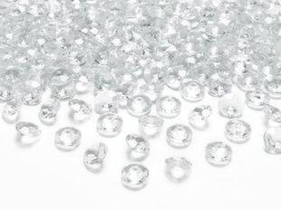 Конфетти кристаллы Diamond, 12 мм, прозрачные,  1коробка/30 пакетов (1 пакет/100 единиц)