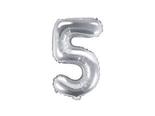 """Fooliumist õhupall Number """"5"""", 35 cm, hõbedane"""