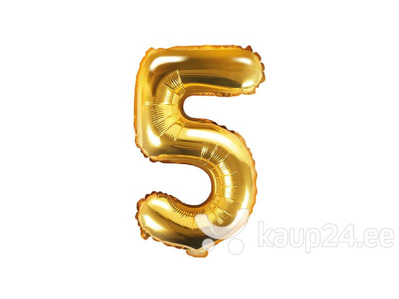 """Fooliumist õhupall Number """"5"""", 35 cm, kuldne, 50 tk."""
