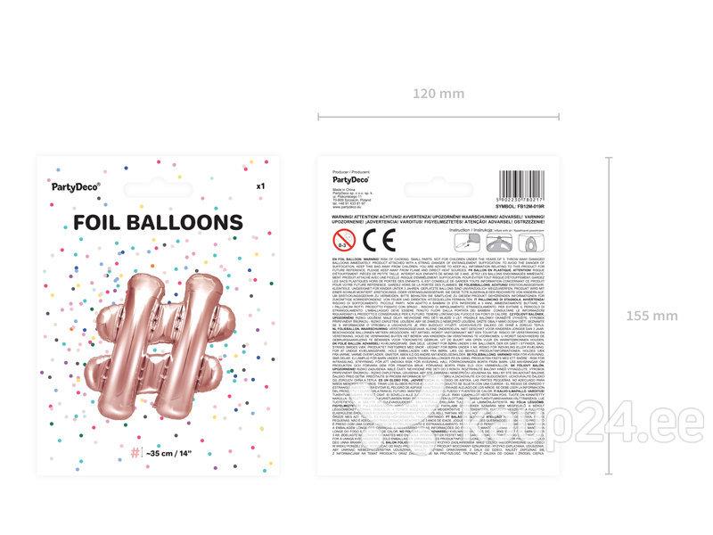 Fooliumist õhupallid #, 35 cm, kuldne/roosa, 50 tk. Internetist