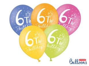 Tugevad õhupallid 30 cm 6th! birthday, erinevad värvid, 6 tk.
