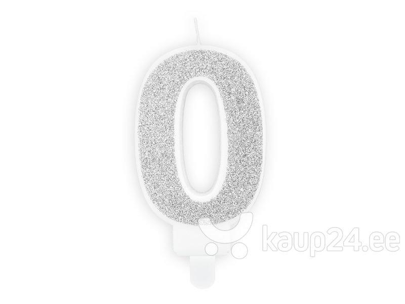 Sünnipäevaküünal Number 0, hõbe, 7 cm, 1 tk. hind ja info | Peokaunistused | kaup24.ee