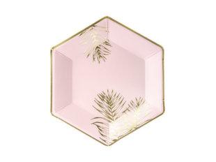 Ühekordsed papptaldrikud Leaves Light Pink 23 cm (1 pakk/6 tk) hind ja info | Ühekordsed nõud | kaup24.ee