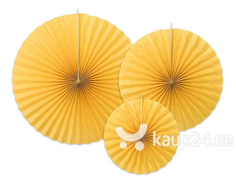 Подвесные украшения-веера, желтые, 1 упаковка/3 штуки