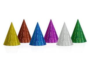 Holograafilised peomütsid, 10 cm (1 pakk/20 tk) Mitmevärviline.