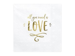 Salvrätikud All you need is love White 33x33cm (1 pakk / 20 tk)