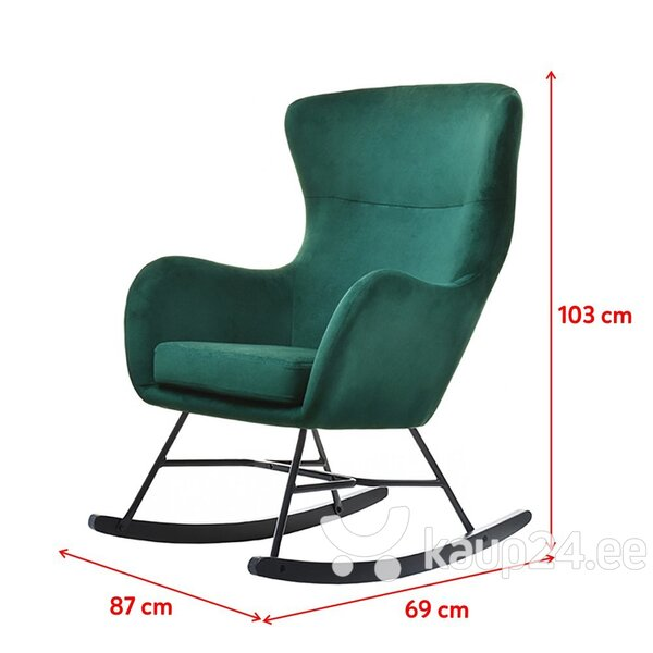 Кресло-качалка Selsey Nesta, зеленое / черное цена