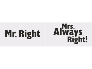 Aksessuaarid fotosessioonile Mr. Right/Mrs. Always Right! 30x15 cm (1 karp/ 40 pakki) (1 pakk/ 2 tk)