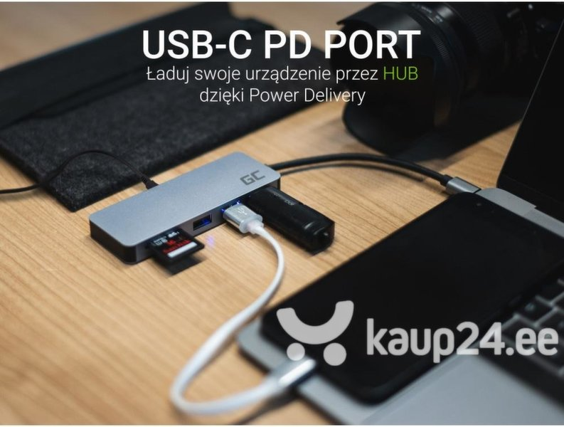 USB-jaotur Green Cell USB-C HUB 7in1 USB 3.0, 2xUSB 2.0, HDMI 4K, microSD, SD, DEX soodsam