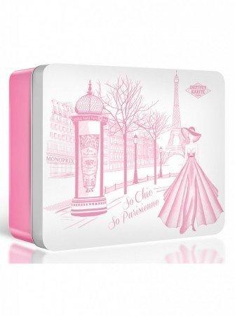 Komplekt Rose Mademoiselle metallist karbis: 100% sheavõi 10 ml + Macaron seep 27 g + kätekreem Lavender Shea 30 ml
