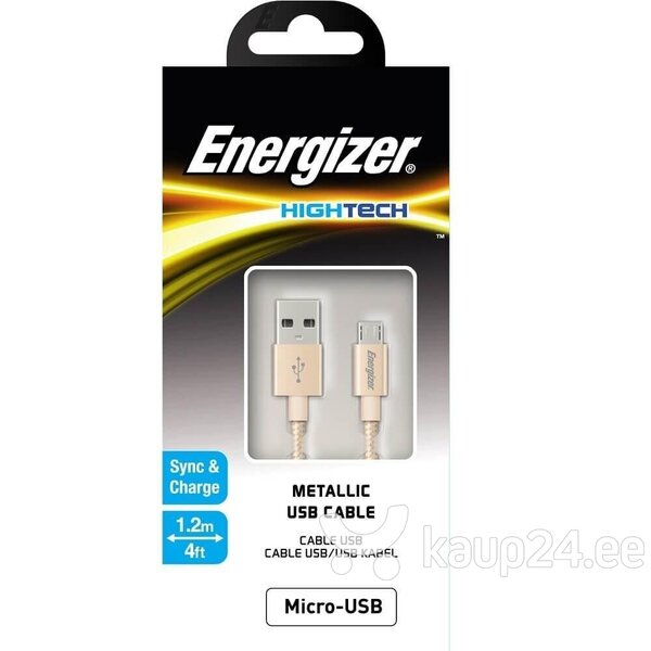 Energizer Hightech Micro-USB Metallic Cable 1.2m (C13UBMCGGD4), Kuldne hind