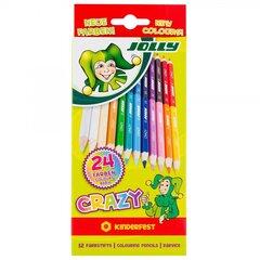 """Kahepoolsed värvipliiatsid """"Crazy"""" 12tk, 24 tooni"""