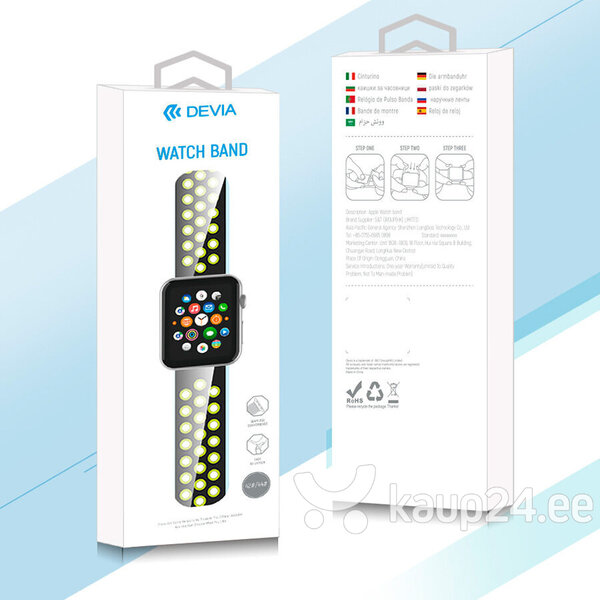 Devia Deluxe Series Sport2 Band sobib Apple Watch(40mm), kollane tagasiside